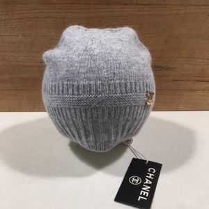 Chanel Grey Knit Hat with Back Zipper
