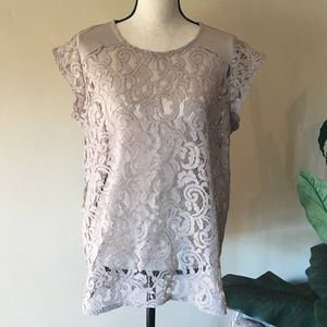 Chico's Lace Top, Tan,  Size Large
