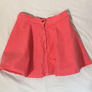 Coral denim mini skater skirt with hold button