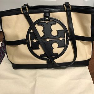 Tory Burch Holly East West Tote Navy Canvas