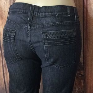 7 For All Mankind Straight Leg Black Jeans 30X29