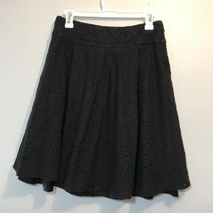 WD.NY Black Floral Lace Overlay Skirt