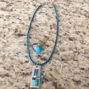 Mens Turquoise necklace and ring