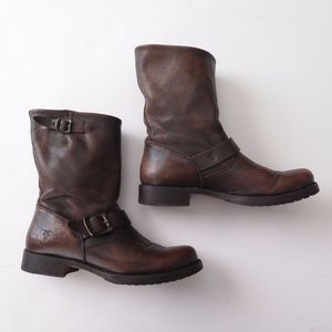 FRYE Boots Veronica 8M Maple Brown Motorcycle