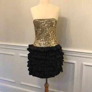 NWOT Robert Rodriguez Gold/Blk Sequin Minidress 2