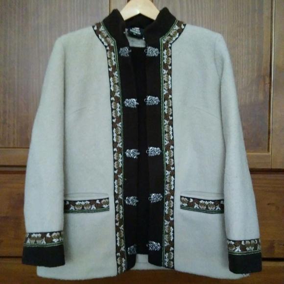 Sandane 1970\u2019s Vintage Women\u2019s Fjord Fashion Wool Jacket with Pewter Hooks Norway