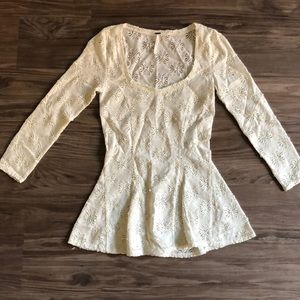 Free people peplum floral white top