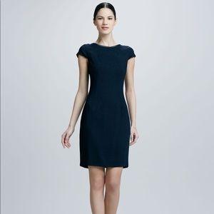 Angie Navy Yard Dress w/Leather Trim - Elie Tahari