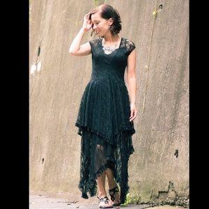 Dresses & Skirts - Black lace asymmetrical dress
