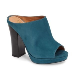 Shellys of London- Teal Suede Mules