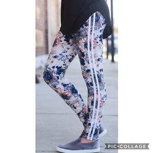 Pants - Floral Striped Leggings