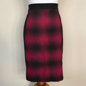 Halogen red plaid seamed pencil skirt plus size 14