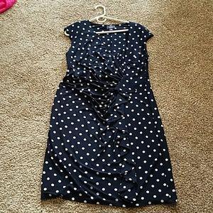 Knit black and white polka dot knit rap style dres