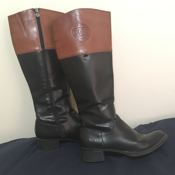9106631c1fc Etienne Aigner Chastity Black and Tan Riding Boot