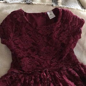 Beautiful deep burgundy red toddler girl dress