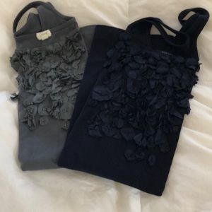 Two new without tag ruffled bib tank tops
