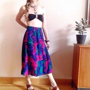 VTG🌺80s Hawaiian Tropical Boho Pleated Midi Skirt
