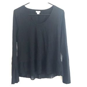 Jcrew black blouse with pleated detail