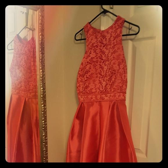 Monique Lhuillier Dresses | Bright Coral Evening Dress | Poshmark
