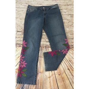 Lilly Pulitzer embroidered flower jeans