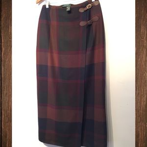 Ralph Lauren Tartan Plaid Buckle Wrap Wool Skirt