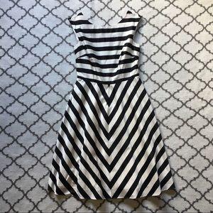 BODEN Black & White Striped Dress