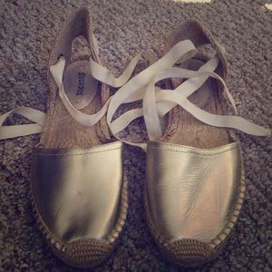 Gold lace up Soludos