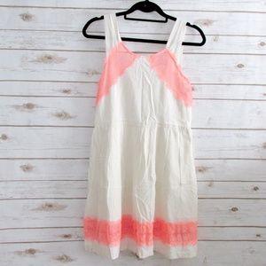 Free People Georgia Ivory Neon Coral Mini Dress