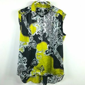Black Gray Chartreuse Popover Top Sz XL