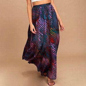 FREE PEOPLE Maxi Skirt Intricate Long Draped Swing