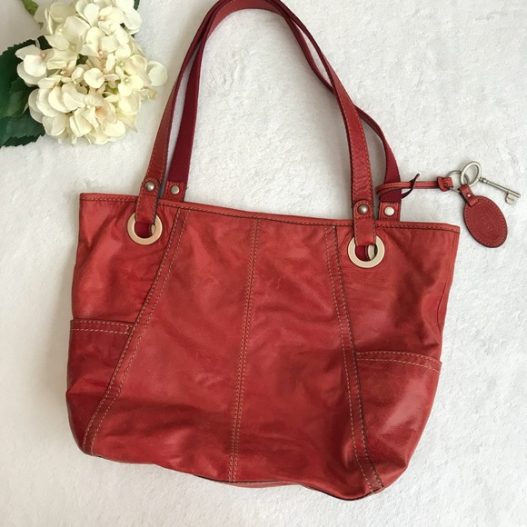 Fossil Handbags -  Fossil  Hathaway Glazed Leather Tote Red