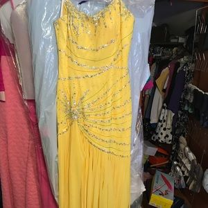 Yellow Beaded Prom Gown
