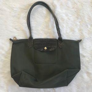 Longchamp Le Pliage Olive Croc Leather Bag