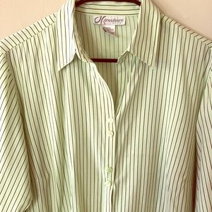 🐊 Black and Light Green Striped Button Down