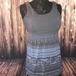 Athleta black and blue flowy tank