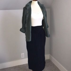 Genuine leather midi skirt vintage