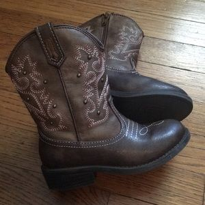 Brown Toddler Girl Cowgirl Boots - Size 9