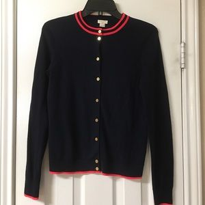 J.Crew Caryn Navy Blue Trimmed In Red Cardigan