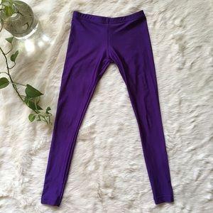 High Waisted AA Purple Shiny Leggings