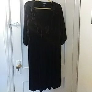 Black Ruffle Neck Dress