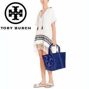 Tory Burch Navy Canvas Beach Tote Bag Small