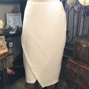 H&M Cream Robbed Pencil Skirt