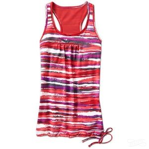 Athleta Tinker Tank Red Purple Stripe M