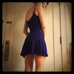 Vintage Indigo Blue Lacey Mini Dress