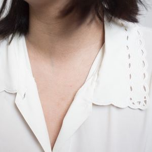Perforated Collared Chiffon Button Up Blouse