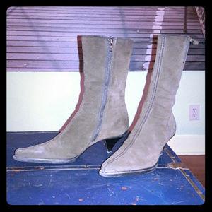 MIU MIU vintage dark olive pointy-toe suede boots