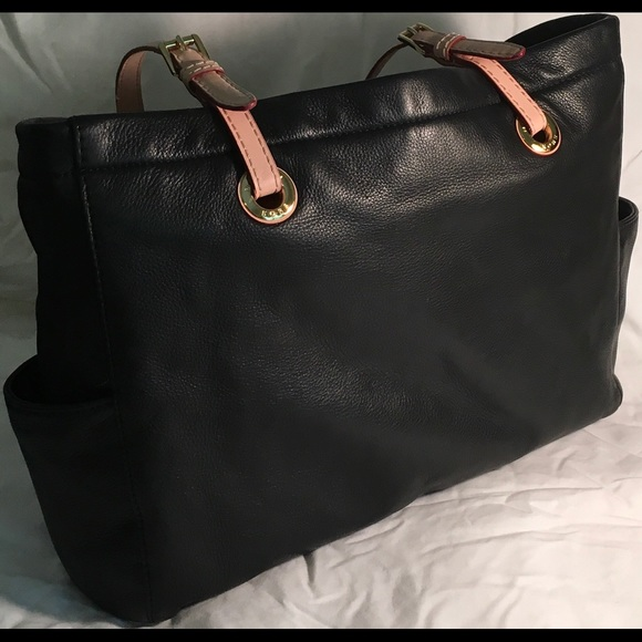 0fa6559d56c3 Michael Kors Black Leather Tote with Tan Straps. M 5a11ed0ac6c795ffa708e81f