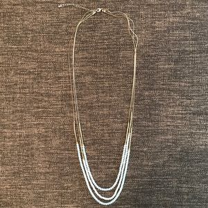 H&M Gold & Clear Beaded Long Necklace