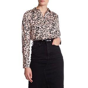 TOPSHOP Animal Print Button Up Shirt