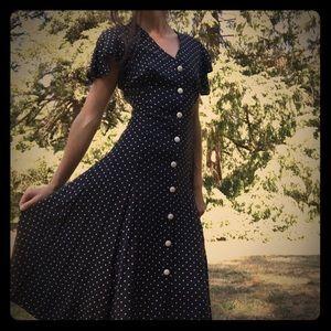 Gorgeous Vintage B&W Polkadot Maxi Dress